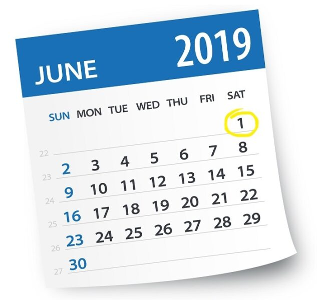 June 2019 calendar with 1 June circled