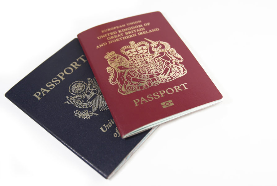 A photograph of two passports