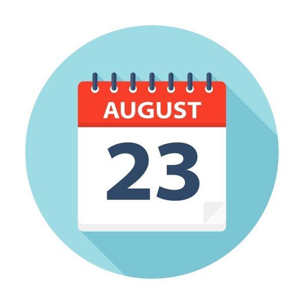 Calendar showing 23 August