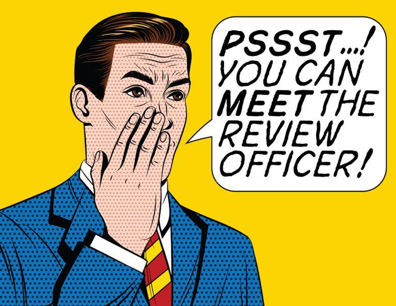"""Roy Lichtenstein pop art style cartoon: """"Pssst...! You can meet the review officer!"""""""