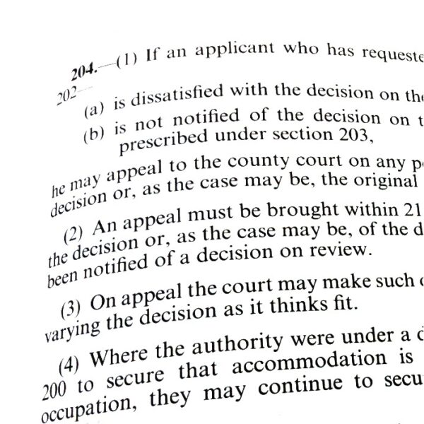 Photo of text of section 204 from Housing Act 1996