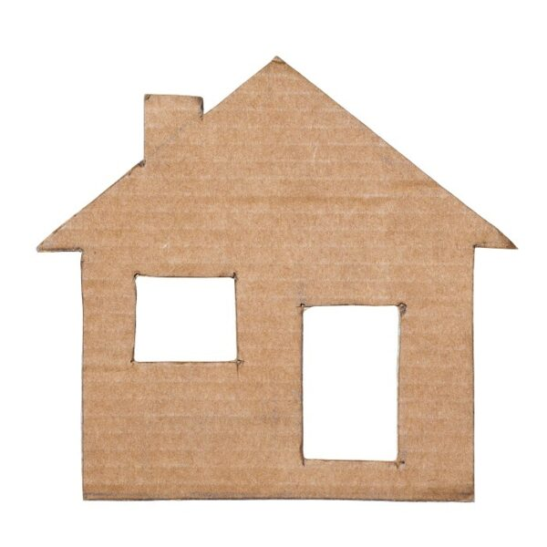 Photograph of cardboard house