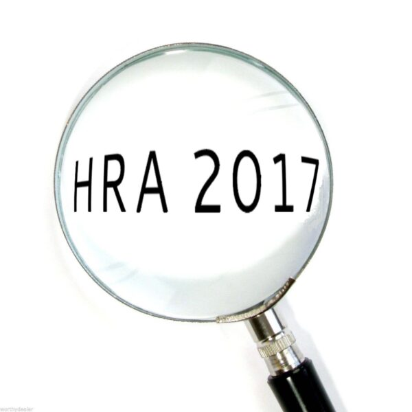 A picture of a magnifying glass over the text 'HRA 2017'
