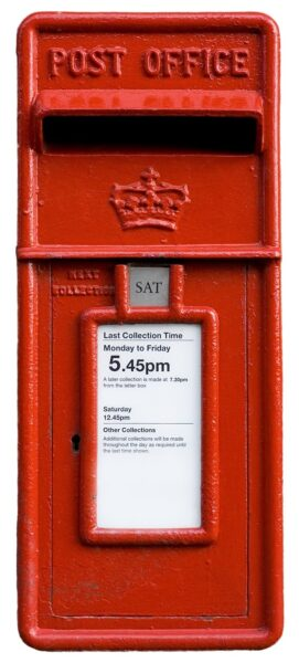 A photograph of a Royal Mail postbox