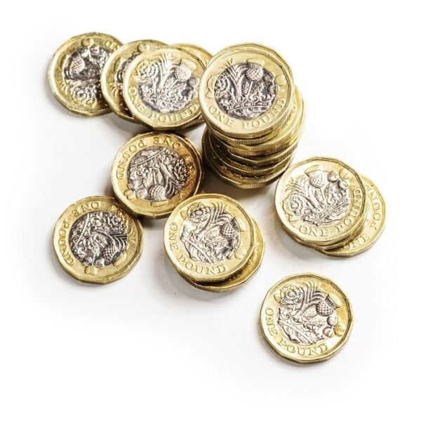 A picture of a pile of pound coins.