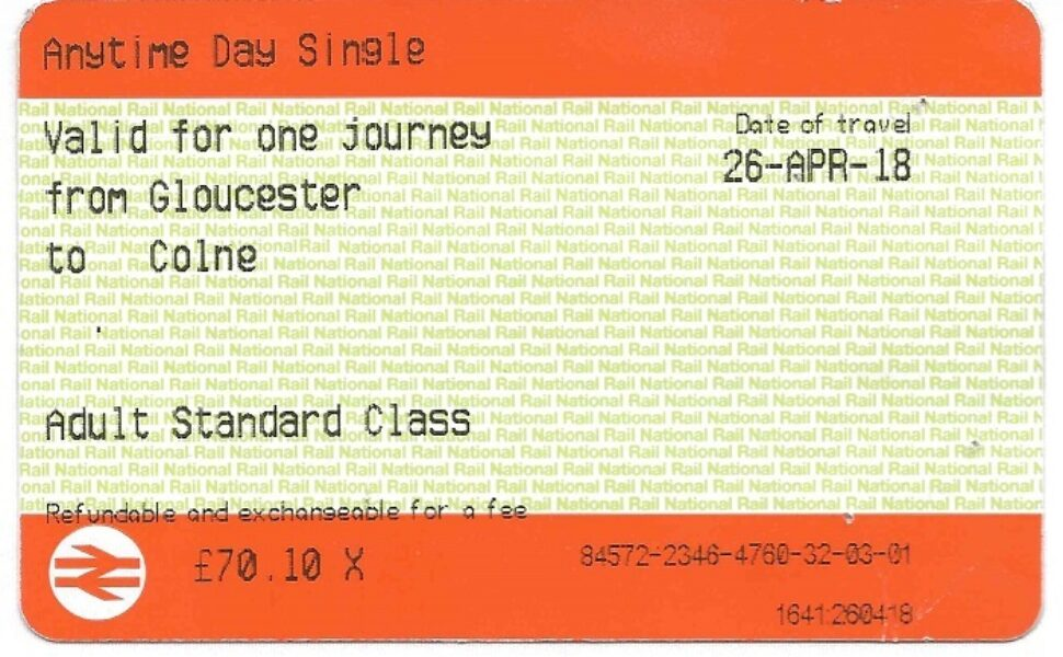 A photograph of a one-way train ticket