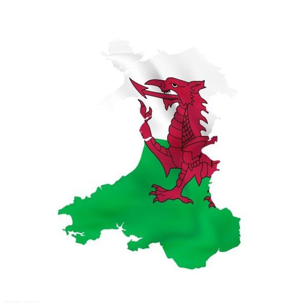 Map of Wales with Y Ddraig Goch